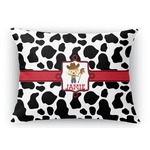 Cowprint w/Cowboy Rectangular Throw Pillow (Personalized)