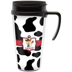 Cowprint w/Cowboy Travel Mug with Handle (Personalized)