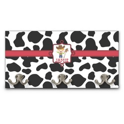 Cowprint w/Cowboy Wall Mounted Coat Rack (Personalized)