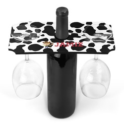 Cowprint w/Cowboy Wine Bottle & Glass Holder (Personalized)
