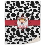 Cowprint Cowgirl Sherpa Throw Blanket (Personalized)