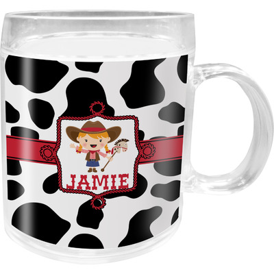 Cowprint Cowgirl Acrylic Kids Mug (Personalized)