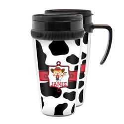 Cowprint Cowgirl Acrylic Travel Mugs (Personalized)