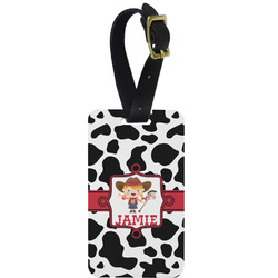 Cowprint Cowgirl Metal Luggage Tag w/ Name or Text