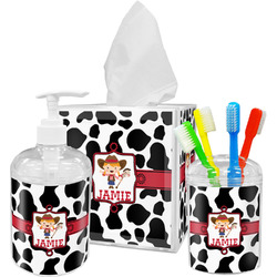 Cowprint Cowgirl Bathroom Accessories Set (Personalized)