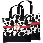 Cowprint Cowgirl Beach Tote Bag (Personalized)