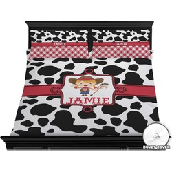 Cowprint Cowgirl Duvet Cover Set - King (Personalized)