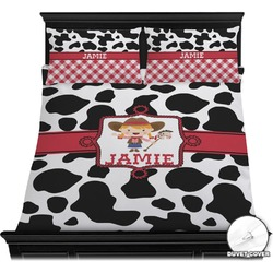 Cowprint Cowgirl Duvet Cover Set (Personalized)
