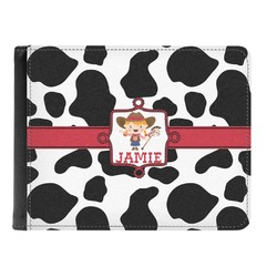 Cowprint Cowgirl Genuine Leather Men's Bi-fold Wallet (Personalized)