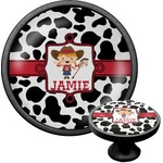 Cowprint Cowgirl Cabinet Knob (Black) (Personalized)