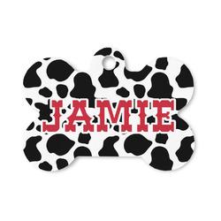 Cowprint Cowgirl Bone Shaped Dog ID Tag (Personalized)