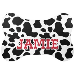 Cowprint Cowgirl Bone Shaped Dog Food Mat (Personalized)