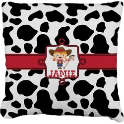 """Cowprint Cowgirl Faux-Linen Throw Pillow 26"""" (Personalized)"""