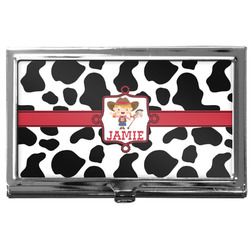 Cowprint Cowgirl Business Card Holder
