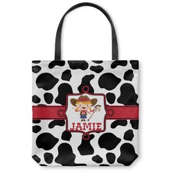 "Cowprint Cowgirl Canvas Tote Bag - Small - 13""x13"" (Personalized)"