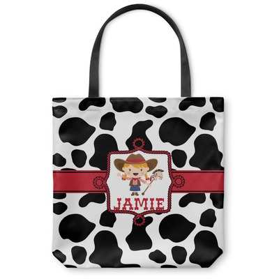 Cowprint Cowgirl Canvas Tote Bag (Personalized)