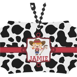 Cowprint Cowgirl Rear View Mirror Ornament (Personalized)