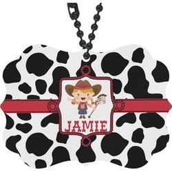 Cowprint Cowgirl Rear View Mirror Decor (Personalized)