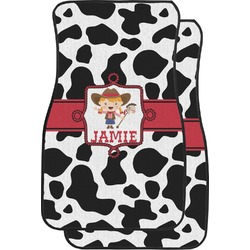 Cowprint Cowgirl Car Floor Mats (Front Seat) (Personalized)