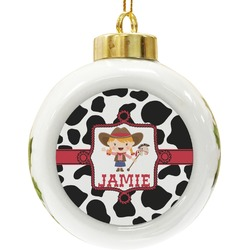 Cowprint Cowgirl Ceramic Ball Ornament (Personalized)