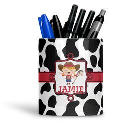 Cowprint Cowgirl Ceramic Pen Holder