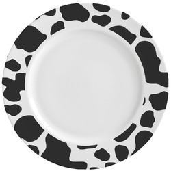 Cowprint Cowgirl Ceramic Dinner Plates (Set of 4) (Personalized)