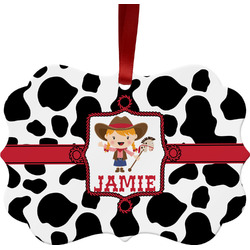 Cowprint Cowgirl Ornament (Personalized)