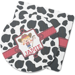 Cowprint Cowgirl Rubber Backed Coaster (Personalized)
