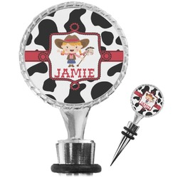 Cowprint Cowgirl Wine Bottle Stopper (Personalized)