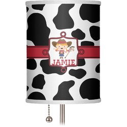 "Cowprint Cowgirl 7"" Drum Lamp Shade (Personalized)"