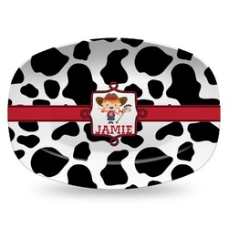 Cowprint Cowgirl Plastic Platter - Microwave & Oven Safe Composite Polymer (Personalized)
