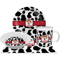 Cowprint Cowgirl Dinner Set - 4 Pc (Personalized)