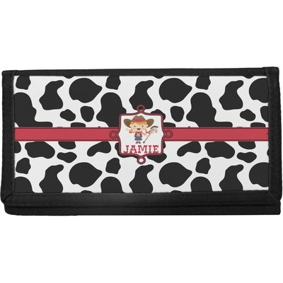 Cowprint Cowgirl Canvas Checkbook Cover (Personalized)
