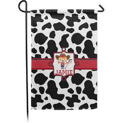 Cowprint Cowgirl Garden Flag - Single or Double Sided (Personalized)