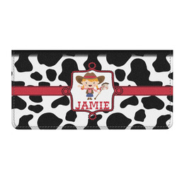 Cowprint Cowgirl Genuine Leather Checkbook Cover (Personalized)