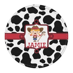 Cowprint Cowgirl Round Desk Weight - Genuine Leather  (Personalized)