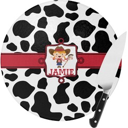 Cowprint Cowgirl Round Glass Cutting Board (Personalized)