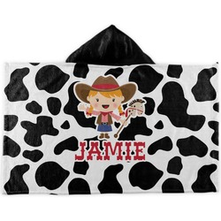Cowprint Cowgirl Kids Hooded Towel (Personalized)
