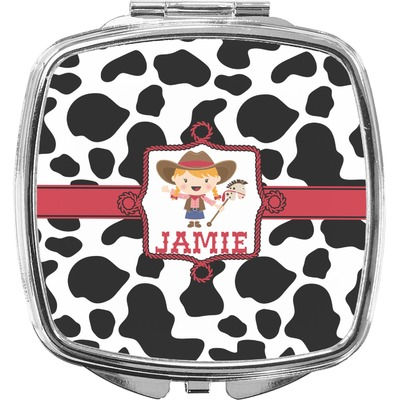 Cowprint Cowgirl Compact Makeup Mirror (Personalized)