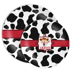 Cowprint Cowgirl Melamine Plate (Personalized)