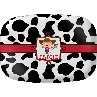 Cowprint Cowgirl Melamine Platter (Personalized)