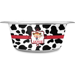 Cowprint Cowgirl Stainless Steel Dog Bowl (Personalized)