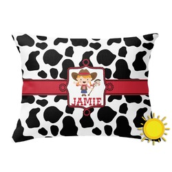 Cowprint Cowgirl Outdoor Throw Pillow (Rectangular) (Personalized)