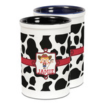 Cowprint Cowgirl Ceramic Pencil Holder - Large
