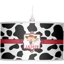 Cowprint Cowgirl Drum Pendant Lamp Linen (Personalized)