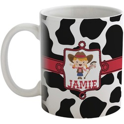 Cowprint Cowgirl Coffee Mug (Personalized)