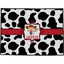 "Cowprint Cowgirl Door Mat - 60""x36"" (Personalized)"