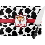 Cowprint Cowgirl Rectangular Glass Cutting Board (Personalized)