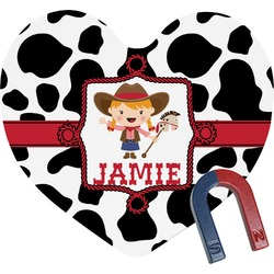 Cowprint Cowgirl Heart Fridge Magnet (Personalized)