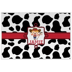 Cowprint Cowgirl Laminated Placemat w/ Name or Text